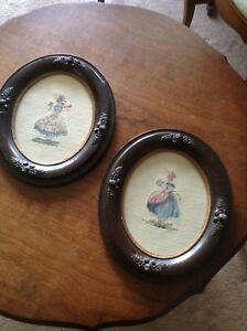 2 antique petite point pictures in wood frames