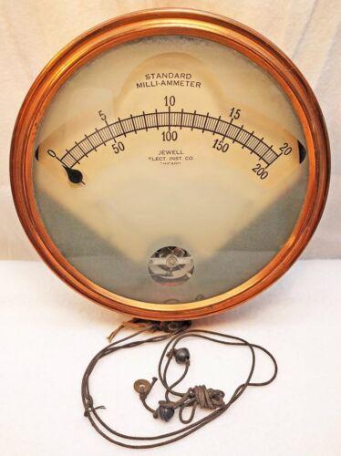 Vtg large JEWELL AMMETER Gauge Electrical Scientific Instrument Steampunk Copper