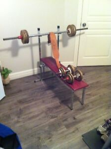 Weider Weights and bench and belt