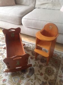 Vintage Wooden Doll Highchair and Cradle