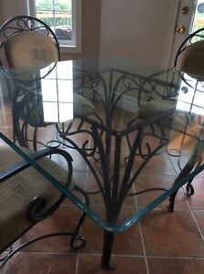 STUNNING ROD IRON AND GLASS TOP TABLE SET FOR SALE