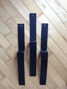 3 PIECE SET METAL BLACK WALL CANDLE HOLDERS