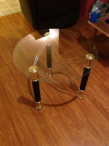 """Glass side table 20"""" tall x 23.5"""" wide"""