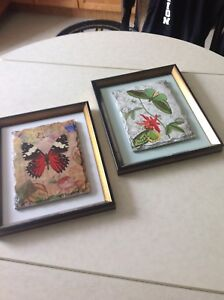 2 ceramic framed butterfly pictures