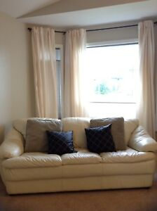 Genuine Leather Couch - Ivory
