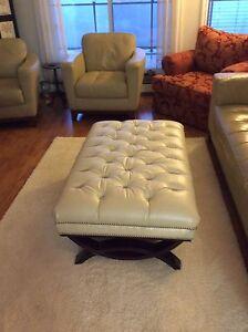 Gorgeous Large White Leather Ottoman