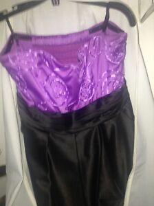 Purple and black short prom dress