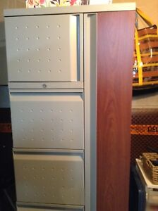 Desk, large tall file cabinet, 2 small file cabinets,
