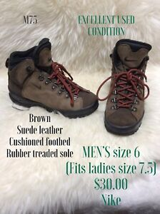 Brown suede hiking boots men's size 6 will fit ladies size 7.5