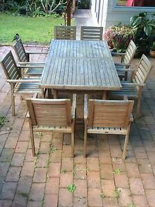 High Quality 9 Piece Teak Outdoor Setting, With Extendable Table. Part 17