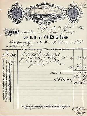 Alte Rechnung 1899 Farbehölzer-Fabrik Senfmühlen Burgdamm De Vries Bremen Litho