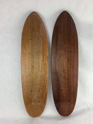 2 x Vintage Teak Oak Skateboard Cruiser Blank Deck 70's Old School Hole Pattern