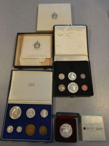 3 PROOF SETS & COINS, 1966 South Africa, 1967 Canada and 1985 Moose