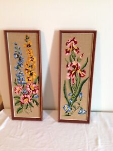 2  HAND MADE NEEDLE POINT PICTORES
