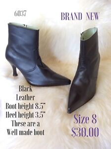 Size 8 black leather heeled booties
