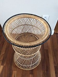 Wicker chair and plant stand set