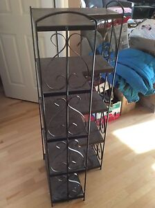 5 shelves in a decorated unit all metal unit $35