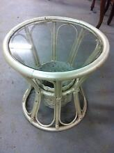 Round Rattan Side Table with Glass Top Croydon Burwood Area Preview