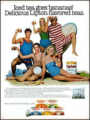 1979 women swimsuits beach Lipton flavored tea vintage photo print Ad ads33