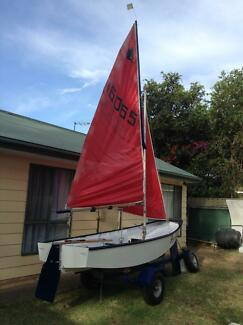 Mirror Sailing Dinghy on custom built trailer
