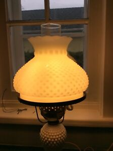 Antique Hobnail Bedroom Lamp with globe chimney