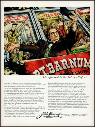 1953 P. T. Barnum art greatest showman John Hancock insur. retro print ad LA13