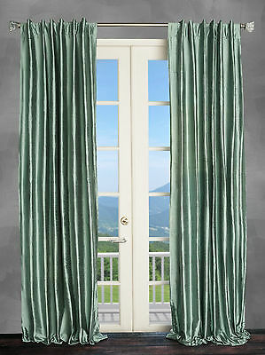 100% Silk Dupioni spa blue lined interlined Curtain Drape panel 50x96 New!