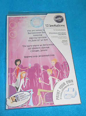 Print Your Own Invitations (Print Your Own Bachelorette Party Wilton Invitations 12 each)