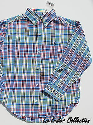 NWT Boys RALPH LAUREN POLO Shirt Long Sleeve Blue Plaid size 6