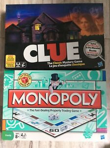 Clue and Monopoly board game