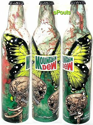 PUSHEAD COURSE-MARKER SKULLS ALUMINUM BOTTLE-CAN MOUNTAIN DEW 08 GREEN LABEL ART