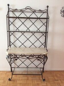 Wrought Iron, Glass, and Marble Bakers Rack