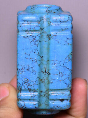 7CM Old Chinese Hongshan Culture Turquoise Carving Yu Cong Zong Amulet Pendant