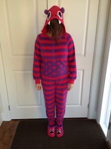 Pink and purple fleece onesie