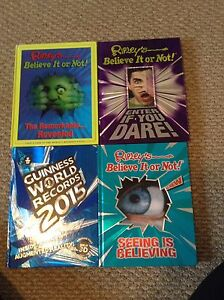 Ripleys believe it or not and Guinness world record books lot