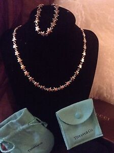 AUTHENTIC VINTAGE TIFFANY AND CO STAR NECKLACE AND BRACELET SET