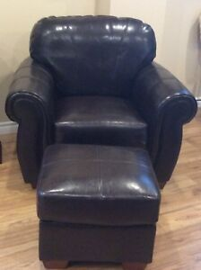 Leather chair and ottoman.
