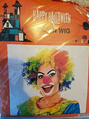 NIP Halloween Rainbow CLOWN Costume Wig RED YELLOW GREEN BLUE PURPLE Multicolor