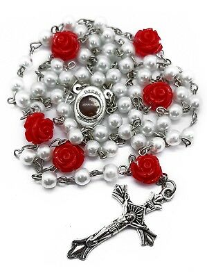 Catholic White Pearl Beads Rosary Necklace Red Our Rose Holy Soil Medal Cross Ruby Drop Beads
