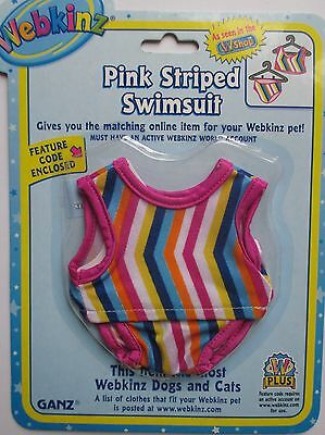 x PINK STRIPED SWIMSUIT fits most WEBKINZ clothes new CODE clothing dress pet