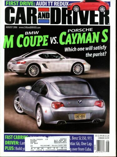 Car and Driver Magazine August 2006 BMW M Coupe vs Porsche Cayman S