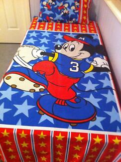 Mickey Mouse Baseball Dooner Cover & Pillowcase for Single Bed Camp Hill Brisbane South East Preview