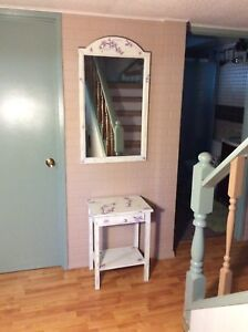 Chalk Painted and Decoupaged Mirror and Table Set