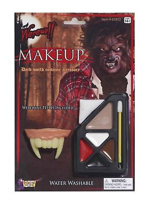 Werewolf Makeup Kit with Teeth Fangs Halloween Make up Costume Accessory Prop