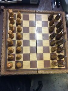 Hand Crafted Wood Chessboard and Pieces