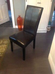 8 Black faux leather parsons dining chairs
