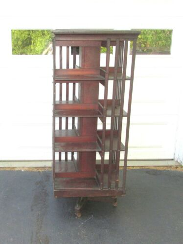 LARGE ANTIQUE DANNER REVOLVING BOOKCASE BOOK CASE WOOD