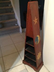 """""""Boat style shelf"""" with drawers all wood.."""