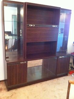 Vintage Walnut Veneered Buffet/Display Cabinet
