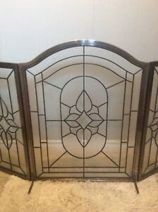 Glass and Brass Metal Fireplace Screen